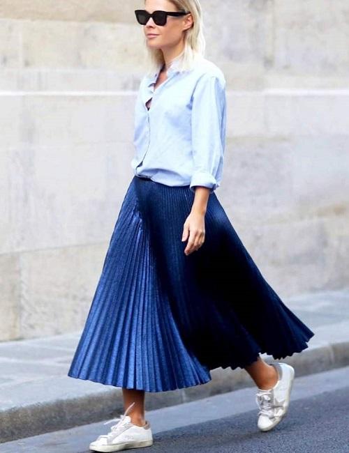плиссированная юбка с чем носить